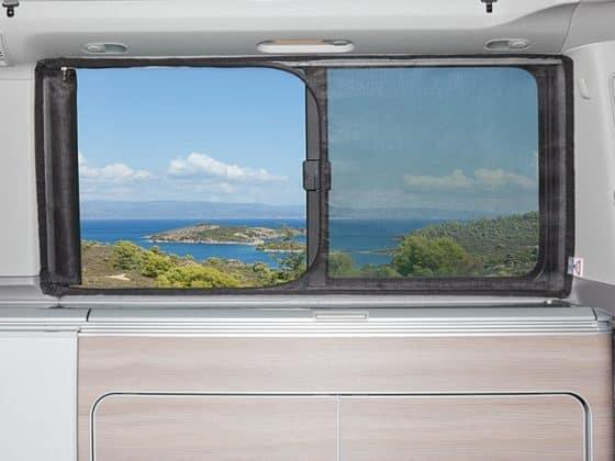 WIEST-Brandrup-FLYOUT VW-T5 California, Schiebefenster – Ansicht offen