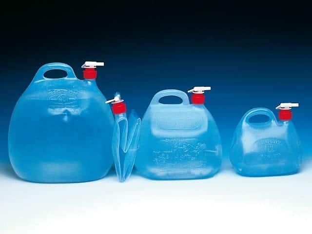 5 Liter Faltwasserbehälter, 10 Liter Faltwasserbehälter, 20 Liter Faltwasserbehälter mit Drehhahn (aus Polyäthylen)