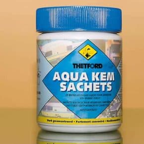 Aqua Kem Sachets: odor-binding sanitary additive for camping toilets