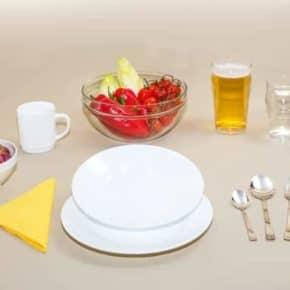 Flacher Teller aus dem Set Gourmet, weiß, stapelbar, Art.Nr.: 100800220