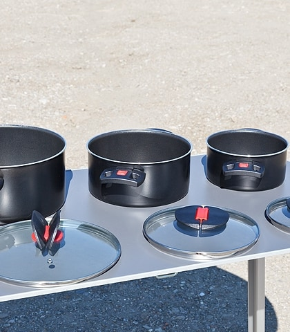 Kochtopfset Click and Cook System: 6-teiliges Set, 3-fach keramische Antihaftversiegelung, Art.Nr.: 100801003
