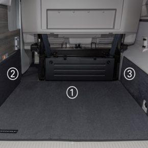 """Schutzmatte, links, für Schrank Heckladeraum VW T6/T5 California (ohne Beach), """"Titanschwarz"""", Art.Nr.:100708591"""