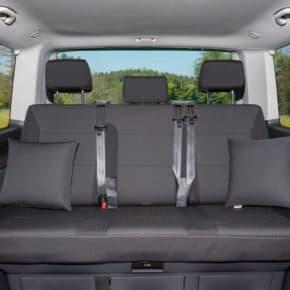 """Second Skin Schonbezug für 3er-Bank VW T5 Multivan (bis 2013), Design """"Kutamo/Titanschwarz"""" Art.Nr.: 100705685"""