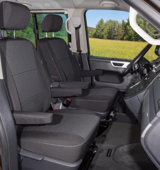 Brandrup-100705752-SecondSkin, Second Skin Schonbezug für 2 Fahrerhaussitze VW T5 Multivan Comfortline ab 2013 mit 21cm Kopfstützen