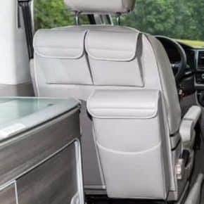 """UTILITIES Taschen für Fahrerhaussitze VW T6/T5 California, Design: """"Leder Moonrock"""", UTILITIES: Taschen mit MULTIBOX für linken Fahrerhaussitz des VW T6/T5 California, Design: """"Leder Moonrock"""""""