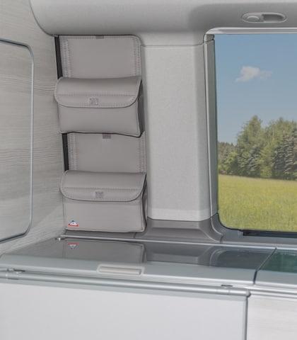 """UTILITY Taschen für das Schrankfenster VW T5/T6 California Comfortline und Trendline, Design: """"Leder Moonrock"""", Art.Nr.: 100706761"""
