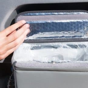 """MULTIBOX for the left cab door in the VW T6 waste bin and / or insulating bag in the design """"Leather Moonrock"""""""