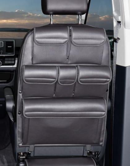 """Utility für Rückenlehne des Fahrer-/Beifahrersitz des VW T6/T5 California und Multivan, Design """"Leder Titanschwarz"""", Art.Nr.:100706790"""
