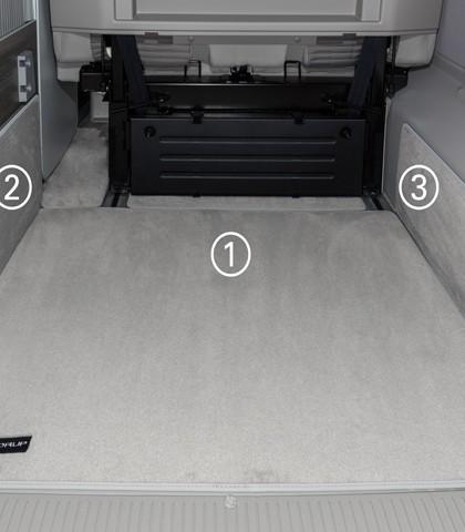 """Schutzmatte VW T6/T5 California (ohne Beach), rechts, Heckladeraum, """"Moonrock"""", Art.Nr.: 100708592"""