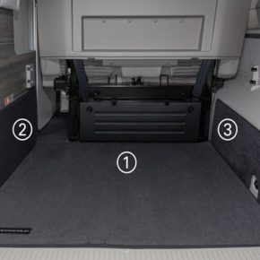 """Protective mat for right: Rear cargo area VW T6 / T5 California (without Beach), """"Titanium black"""", protective mat for rear cargo area VW T6 / T5 California (without Beach), """"Titanium Black"""", Product No.:100708595"""