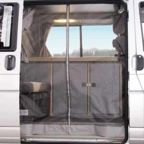 The FLYOUT insect screen for VW T4 California Coach: Sliding door is the perfect mosquito net. Article number 100111041, More than 100 years successful in the mobility industry: Our online shop offers a large selection of vehicle accessories
