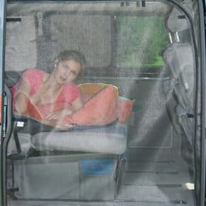 FLYOUT mosquito net for VW T5 estate, Multivan Startline / Beach (only with tin roof!): Sliding door opening, FLYOUT T5