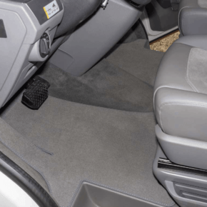 Brandrup carpet - velor carpet for driver's cab, perfect for all VW T6 with steering wheel on the left side, one-piece with wheel arch step protection and clip fastening