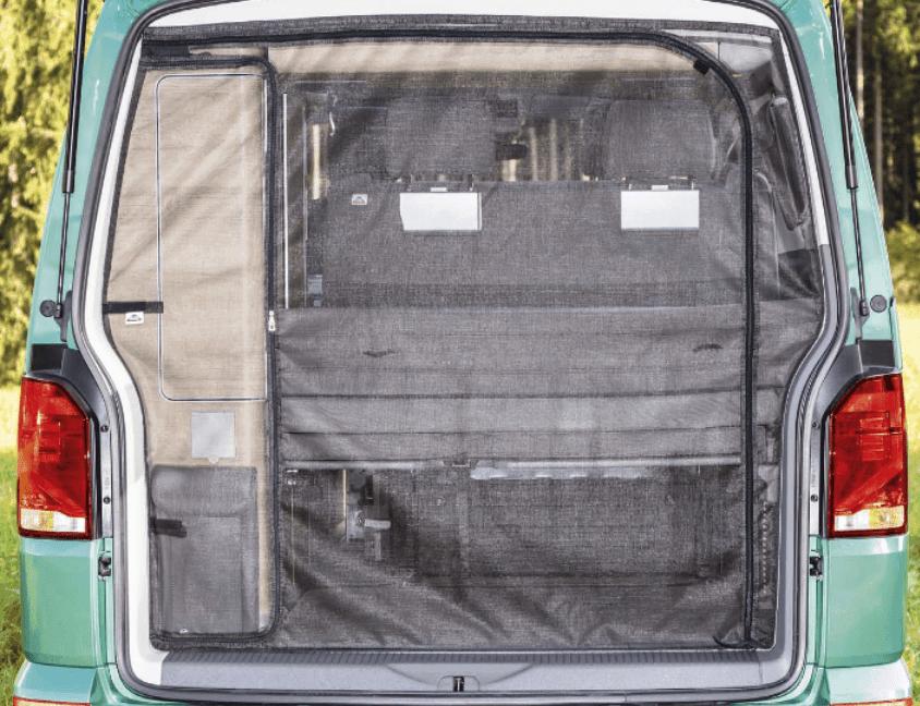 FLYOUT Moskitonetz für Schiebetür-Öffnung der VW T4 mit VW-Verkleidung