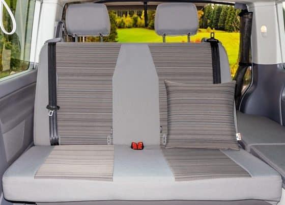 """Bezug Bett Beach Second Skin Schonbezug für die 2er-Sitzbank / Bett im VW T6.1/T6 California Coast mit Aussparung für Isofix-Halterung im Design """"Mixed Dots"""", Second Skin Bezug für die 2er-Sitzbank / Bett im VW T6.1/T6 California Beach mit Aussparung für Isofix-Halterung im Design """"Mixed Dots"""", Bett Bezug Beach - Brandrup Second skin cover for 2-seater bench in VW T6.1 / T6 California Beach with recess for Isofix bracket in the design """"Mixed Dots"""""""