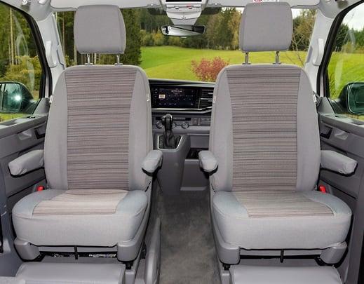 """Brandrup Second Skin Sitzbezüge für die Fahrerhaussitze im VW T6.1 / T6 California Coast und Beach im Design """"Mixed Dots/Palladium"""""""