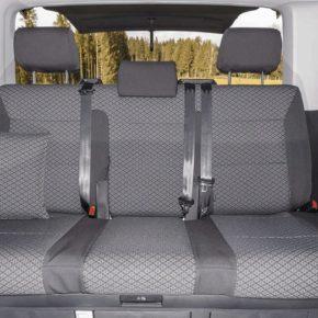 """Second Skin Schonbezug für die Sitzbank mit 3 Sitzen ohne Mittelarmlehne im VW T6.1 / T6 Multivan & Beach im Design """"Quadratic"""""""