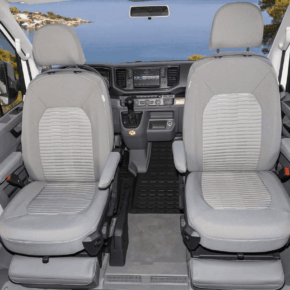 """Second skin protective covers for the driver's seat in the VW Grand California 600 and 680 in design """"Valley Palladium"""""""