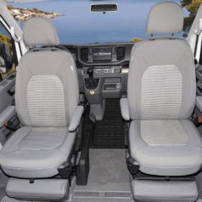 """Second Skin Schonbezüge für die Fahrerhaussitze im VW Grand California 600 und 680 im Design """"Valley Palladium"""""""