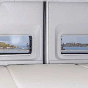 "Brandrup 4TOP closure for the storage recesses in the D-pillar above the bed in the VW Grand California 600; Set of 2 for left and right in the design ""Leather Palladium"""