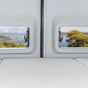 "4TOP closure for the storage recesses in the D-pillar above the bed in the VW Grand California 680; Set of 2 for left and right in the design ""Leather Palladium"""