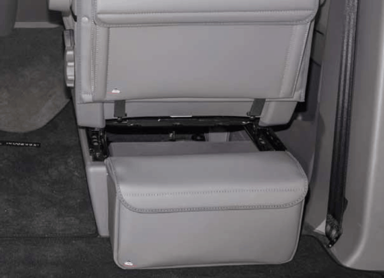 """Multibox CarryBag insulating carrier bag for attachment to the seat console behind the driver or front passenger seat for the VW T6.1 / T6 / T5 in the design: """"Leather Palladium"""""""