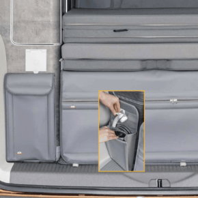 "Brandrup Utility bag for attaching to the rear wardrobe, also ideal for storing the shower, shower bag for VW T6.1 / T6 / T5 in the design ""Leather Palladium"""