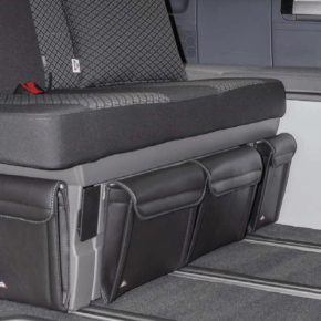 """UTILITY bag for the bed box in the VW T6.1 / T6 / T5 California Beach, front left, in the design """"leather titanium black"""""""