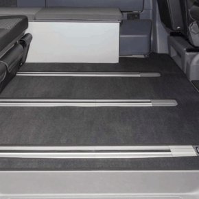 """Brandrup carpet (velours) for the passenger compartment of the VW T6.1 California models (without beach) with 3 floor rails in the design """"titanium black"""""""