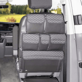 "Utility bags for attachment to the back of a seat in the cab of the VW T6.1 / T6 / T5 California Beach and Multivan in the ""Quadratic"" design"