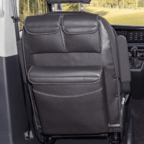 "Utility bags with Multibox Maxi for the left cab seat of the VW T6.1 / T6 / T5 California Beach and Multivan in the design ""Leather Titanium Black"""