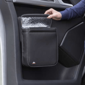 """Multibox for the right door in the VW T6 cab, ideal as an insulating bag or waste bin in the design """"leather titanium black"""""""