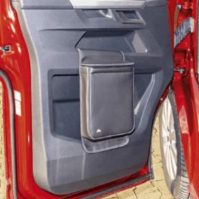 """Multibox für die linke Tür im VW T6.1 Fahrerhaus, ideal als Isoliertasche oder Abfallbehälter im Design """"Leder Titanschwarz"""""""