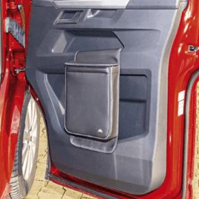 """Multibox für die rechte Tür im VW T6.1 Fahrerhaus, ideal als Isoliertasche oder Abfallbehälter im Design """"Leder Titanschwarz"""""""