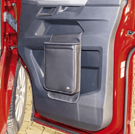 """Multibox for the right door in the VW T6.1 cab, ideal as an insulated bag or waste bin in the design """"leather titanium black"""""""