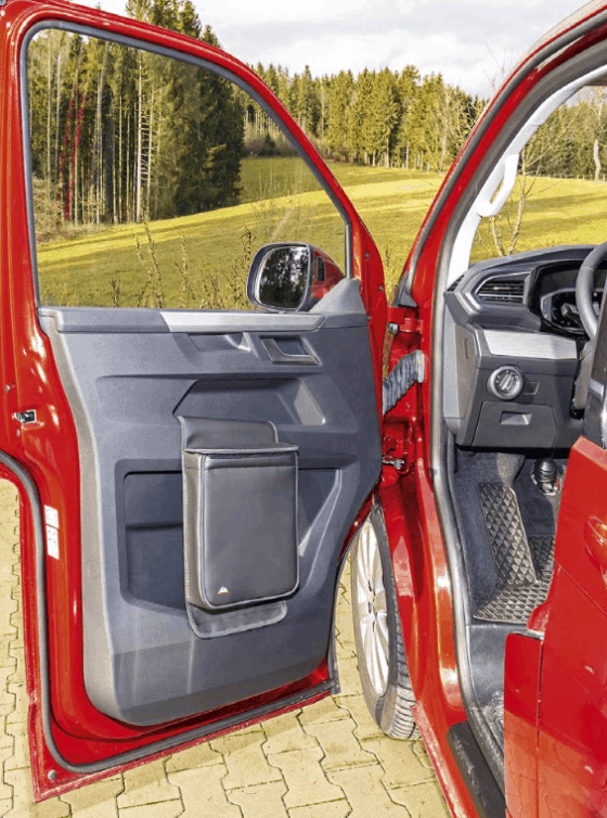 """Multibox for the left door in the VW T6.1 cab, ideal as an insulating bag or waste bin in the design """"leather titanium black"""""""