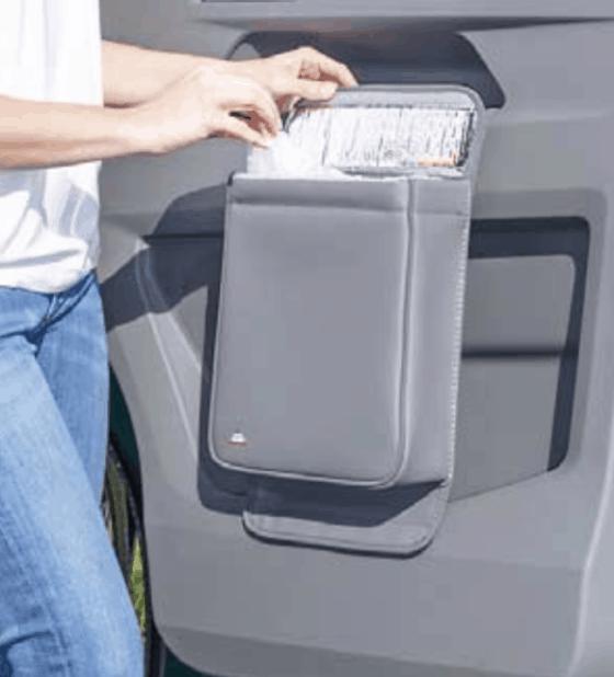 """Brandrup Multibox für die linke Tür im VW T6.1 Fahrerhaus, ideal als Isoliertasche oder Abfallbehälter im Design """"Leder Palladium"""""""