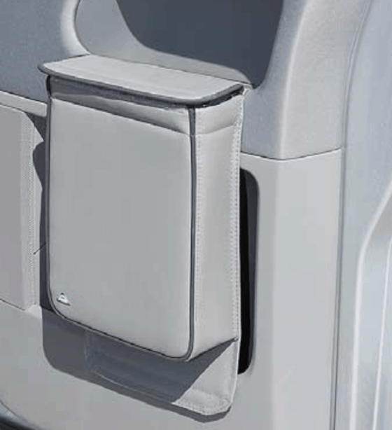 "Multibox for the left door in the VW T6 cab, ideal as an insulating bag or waste bin in the design ""leather palladium"""