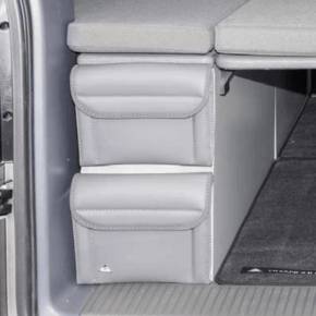 """Utility für VW T6.1 California Beach Staukasten vorne oder hinten, 2 Taschen im Design """"Leder Palladium"""""""