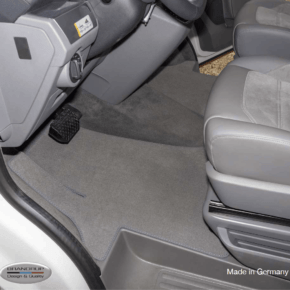 Brandrup carpet - velor for the driver's cab, a perfect fit for all VW T6.1 with steering wheel on the left, one-piece with wheel well protection