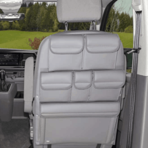 "Utility bags for attachment to the backrest of a seat in the cab of the VW T6.1 / T6 / T5 California and Multivan in the design ""Leather Palladium"""