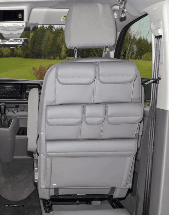 """Utility Taschen zur Anbringung an der Rückenlehne eines Sitzes im Fahrerhaus der VW T6.1 / T6 / T5 California und Multivan im Design """"Leder Palladium"""""""
