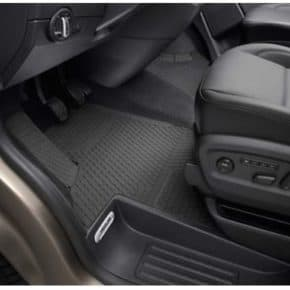 All-weather floor mats for VW T5 / T6 Multivan with steering wheel on the left-hand side for the front, 2-part in titanium black design with clip fastening