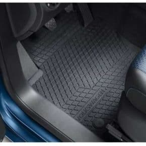 All-weather floor mats for VW Caddy 4 with steering wheel on the left side for the front 2-part in titanium black design with clip fastening