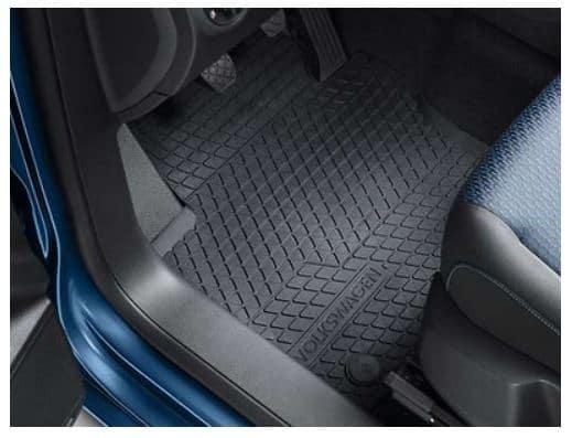Allwetter - Fußmatten für VW Caddy 4 mit Lenkrad auf der linken Seite für vorne 2-teilig im Design Titanschwarz mit Clipbefestigung