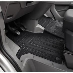 All-weather floor mats for VW Crafter with steering wheel on the left-hand side for the front, two-part in titanium black design with clip fastening