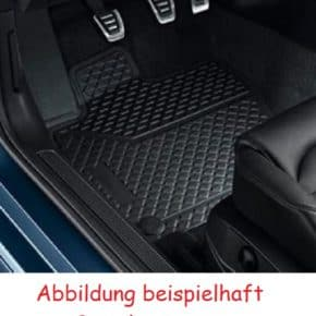 All-weather doormat for VW T5 / T6 California / Multivan for the tunnel cover (center aisle) in titanium black design with rotary knob fastening