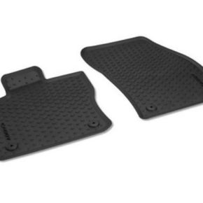 Allwetter - Fußmatte für VW T5/T6 California/Multivan für die Tunnelabdeckung (Mittelgang) im Design Titanschwarz mit Drehknebelbefestigung - Set of all weather mats for VW Caddy 5 with lettering Floor mats for the front - 2-piece set