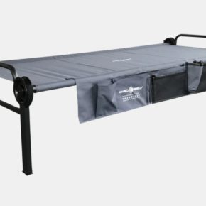 The Disc-O-Bed XLT Single Edition camp bed can also be expanded to create a bunk bed or bench with a second camping bed