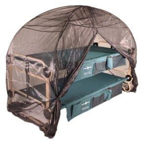 Moskitonetz mit Rahmen Reißverschluss geöffnet - Erweiterung für Disc-O-Bed Campingbett - Damit lässt sich auch Outdoor eine insektenfreie Nacht genießen